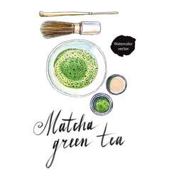 powdered japanese matcha green tea vector image