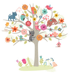 cats and tree vector image vector image