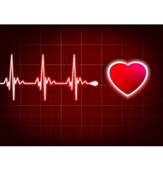 Heart cardiogram with shadow on it deep red EPS 8 vector image vector image