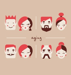 people in different ages icon collection vector image vector image