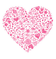 pink valentines heart vector image vector image