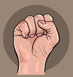 raised hand with clenched fist vector image