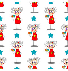 seamless pattern with cute girl vector image