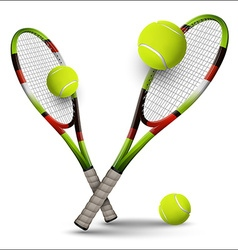 Tennis symbols rackets and balls isolated on white vector image vector image