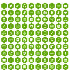 100 office work icons hexagon green vector