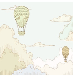 Abstract background with balloon and clouds vector image vector image