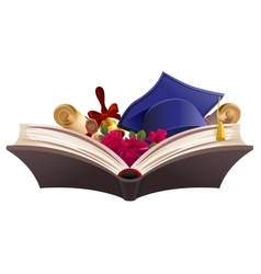 Education symbol Book diploma bell flowers and vector image