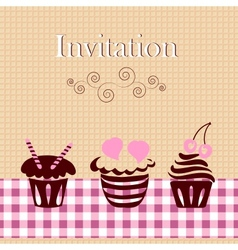 Invitation card with cakes vector image vector image