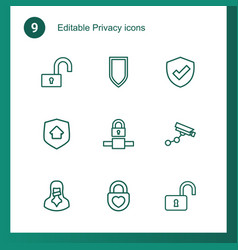 9 privacy icons vector image