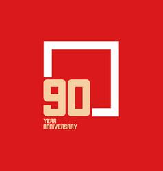 90 year anniversary square template design vector