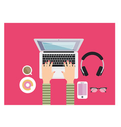 a young girl working and typing on the pink desk vector image