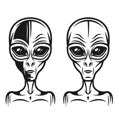 alien head two styles monochrome vector image