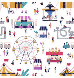 amusement park with tiny people seamless pattern vector image