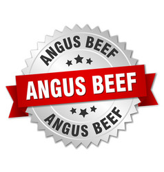 Angus beef round isolated silver badge vector