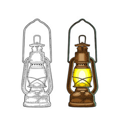 Antique retro gas lamp vintage color engraving vector