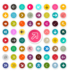 arrows set in colorful circles arrow icon symbols vector image