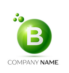 B letter splash logo green dots and circle bubble vector