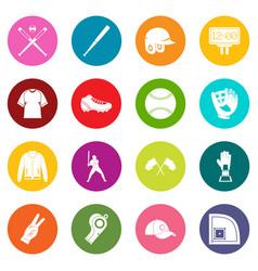 Baseball icons many colors set vector