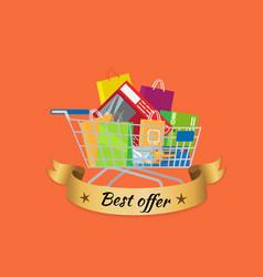 best offer promo banner cart full of shopping bags vector image