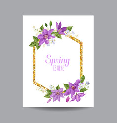 Blooming spring and summer golden floral frame vector