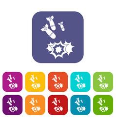 Bomb icons set vector