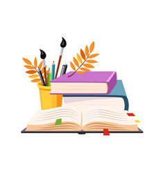 books pile and writing tools set school and vector image