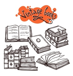 Books Set Black And White vector image vector image