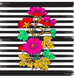 Border frame botanical bush with tropical flowers vector