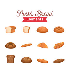 Breads fresh elements set bakery isolated style vector