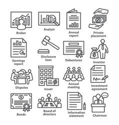 business management line icons pack 37 vector image