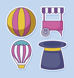 carnival kiosk with set icons circus vector image