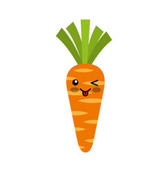 carrot fresh vegetable kawaii character vector image