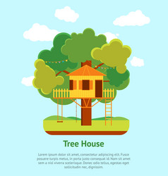 cartoon tree house card poster vector image