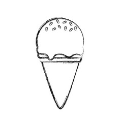 Ce cream scoops cone with sprinkles vec vector