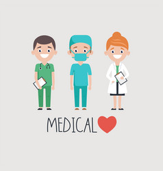 cheerful doctors and medical word vector image