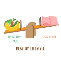 Choosing between vegetable fruit and meat healthy vector image