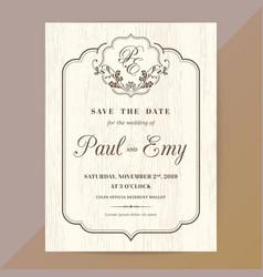 classic vintage wedding invitation card vector image