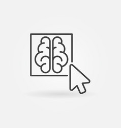 Click on brain button outline icon vector