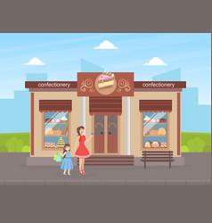confectionery shop building facade view city vector image