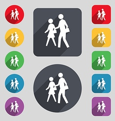 crosswalk icon sign A set of 12 colored buttons vector image