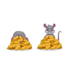 cute comic mouse sitting on pile golden vector image