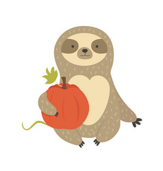Cute sitting sloth with pumpkin character design vector