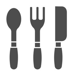 cutlery solid icon kitchen tools vector image