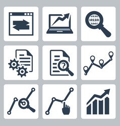Data analysis icons set vector