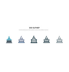 Doi suthep icon in different style two colored vector