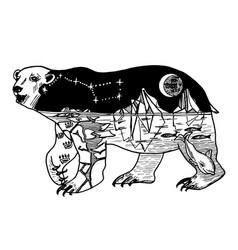Double exposure bear with mountains space vector