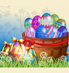 Easter eggs in basket vector