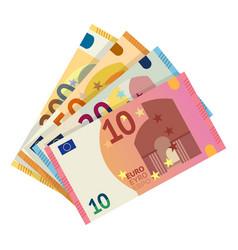 Euro banknotes flat vector