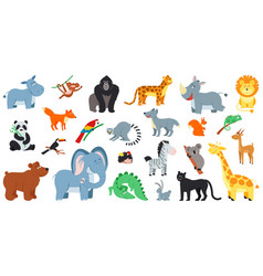 exotic forest animals cute cartoon animal zoo vector image