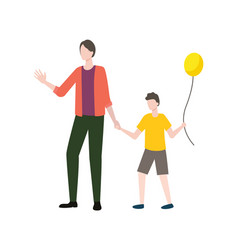 family parent and child holding balloon vector image